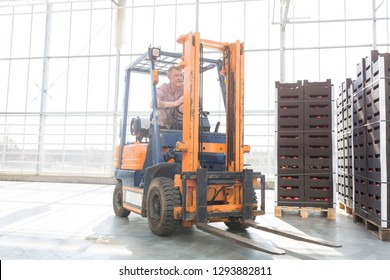 Senior man in forklift by crates at distribution storehouse
