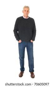 Senior man in full body standing in the studio on white background