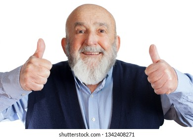 senior man giving thumbs up