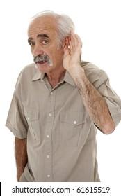 Senior man hard of hearing