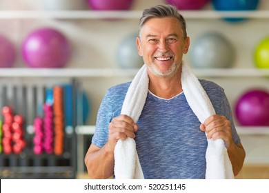 Senior man in health club