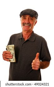 Senior man holding dollar bills and giving the thumbs up