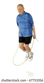 A senior man jumping rope.  Motion blur visible on feet and rope.  Isolated on white.