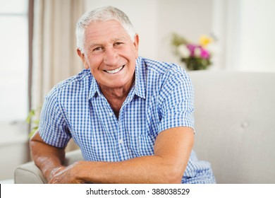 Senior man looking at camera and smiling in living room