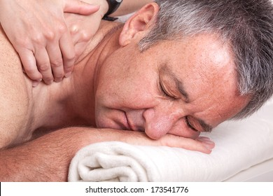 Senior man at the massage