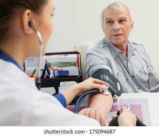 Senior man measuring blood pressure at doctor's office