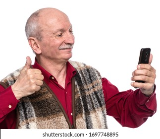 Senior man with mobile phone posing in studio over white background