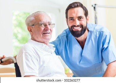 Senior man and nurse in rest home