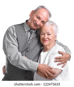 Senior man with old woman on white background