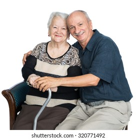 Senior man with old woman on white background. Family time