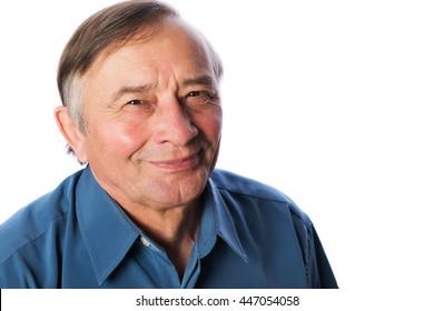 Senior man on blue isolated on white