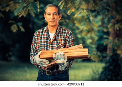 Senior Man outdoor carrying in his arms the firewood he just saw.