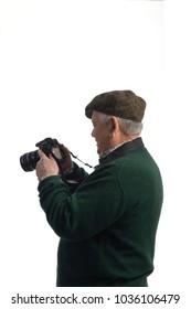 senior man photografer on white