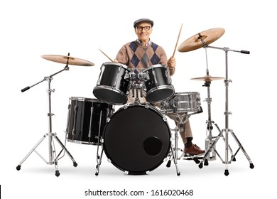 Senior man playing on a drum kit isolated on white background