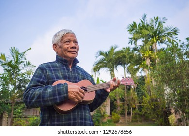 Senior man playing ukulele in the garden with blue sky background. The music and musical instrument makes very happy old man and good mental health. Relaxation and health care concept