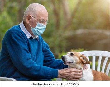 Senior man with protective mask cuddling cute dog in garden with green background