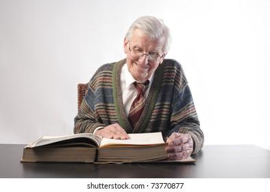 Senior man reading a book