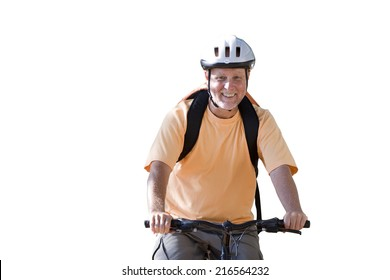 senior man riding bicycle, cut out