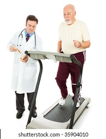 Senior man runs on a treadmill while his doctor charts his progress.  Isolated on white.
