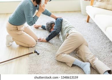 Senior man suffering from illness