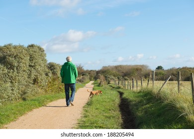 Senior man is walking the dog in nature