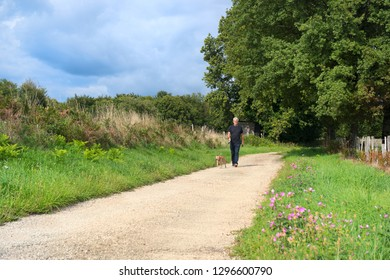 Senior man walking the dog on little lane in nature