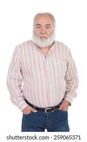 Senior man with white beard isolated on background