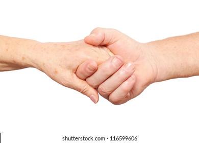 senior man, woman handshake, isolated