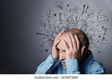 Senior man with worried stressed face expression with illustration