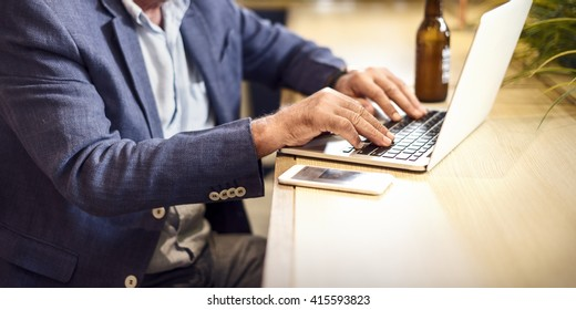 Senior Man Writing Working Shop Relaxation Concept