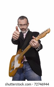 Senior manager giving a enthusiastic thumbs up and playing the guitar./It Is Never Too Late For Success !