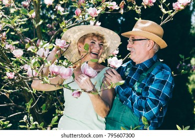 Senior marriage standing next to a tree, laughing. Retirement activities.