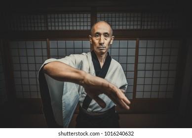 Senior martial art master in his dojo