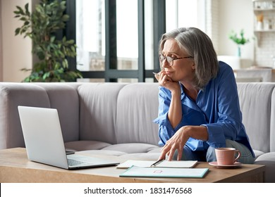 Senior mature older woman watching business training, online webinar on laptop computer remote working or social distance learning from home. 60s businesswoman video conference calling in virtual chat - Shutterstock ID 1831476568