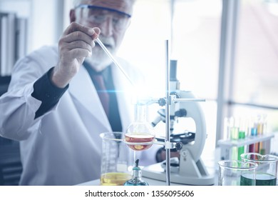Senior Medical working in Lab, Scientific experiment, Researcher, Research