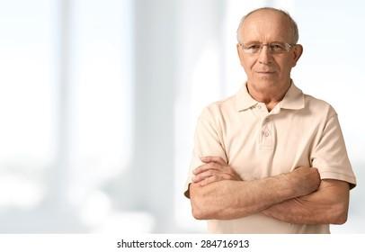 Senior Men, Isolated, Senior Adult.