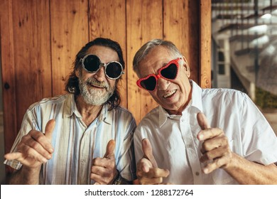 Senior men wearing funny sunglasses looking at camera. Happy elderly friends with crazy eyewear with funky gestures.