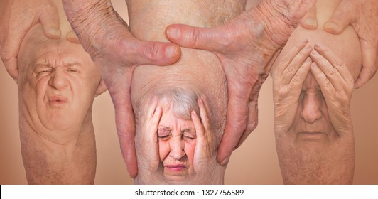 Senior men and woman holding the knee with pain. Collage. Concept of abstract pain and despair. The elderly pensioner and problems. Old age and illnesses. 86-year-old Caucasian model. healthcare