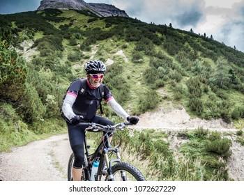 Senior Mountainbiker on the trail