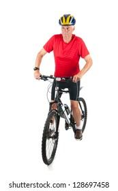 Senior mountainbiker in studio