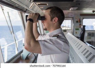 Senior Navigation Officer Navigating his Ship