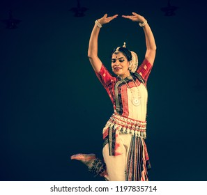 A senior Odissi dancer dances as a goddess at the Divyashetram event on October 3,2018 in Bengaluru,India