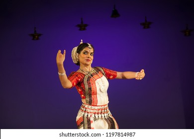 A senior Odissi dancer looks at a deer as she sees the lord at the Divyashetram event on October 3,2018 in Bengaluru,India