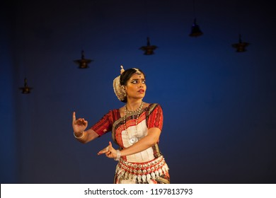 A senior Odissi dancer looks at lord krishna at the Divyashetram event on October 3,2018 in Bengaluru,India