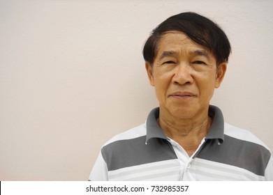 senior old adult  Asian man portrait on white background