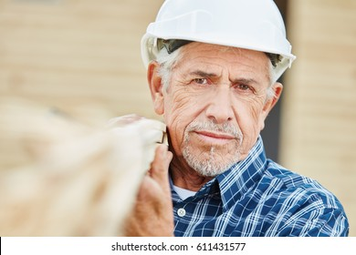 Senior as old craftsman with experience