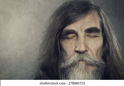Senior Old Man Eyes Closed, Elderly People Portrait, Aged Face close up