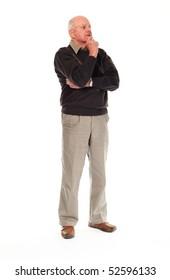 Senior older retired man on white background standing and thinking