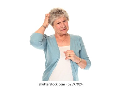 Senior older woman isolated on white scratching head