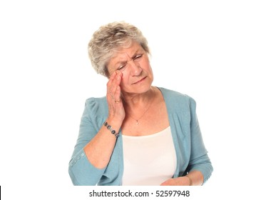 Senior older woman isolated on white with headache